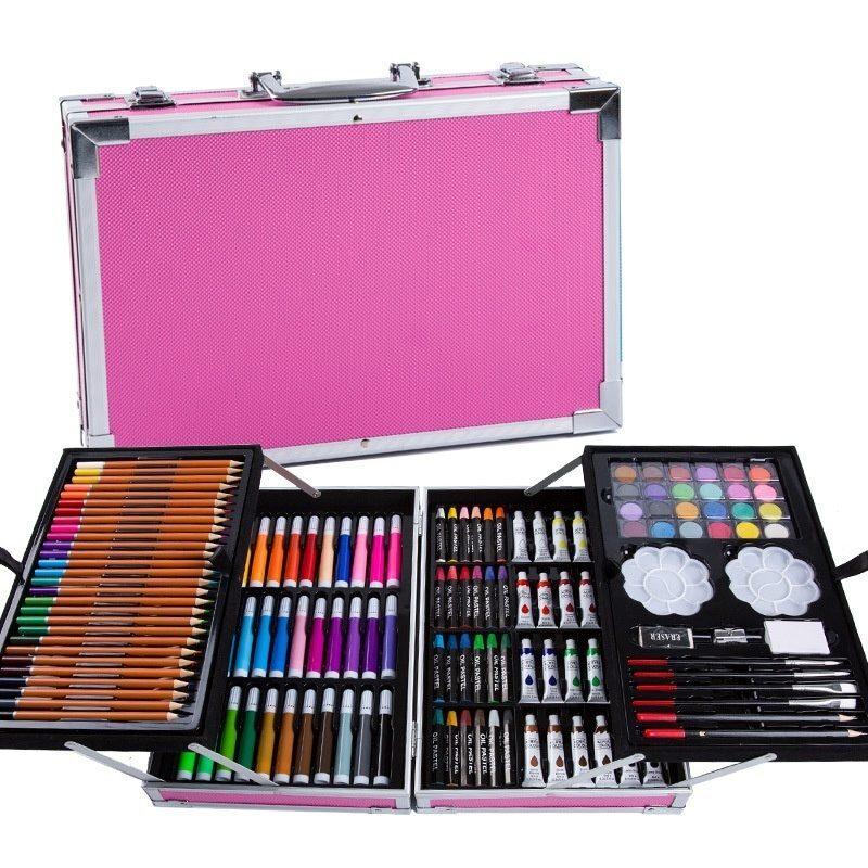 Набор для детского творчества из 145 предметов в кейсе Розовый