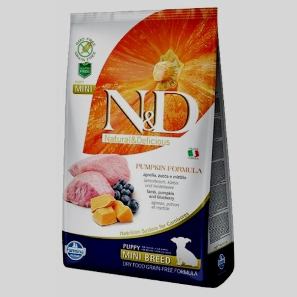 Farmina N&D ягненок с тыквой, с черникой (для мелких пород)