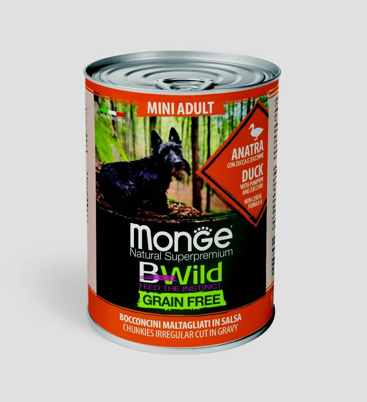 Monge BWILD Feed the Instinct утка с тыквой, с цуккини (для мелких пород)