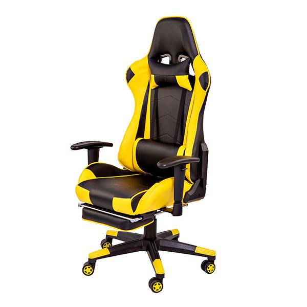 Геймерское кресло Racer yellow с подставкой для ног/Race Black-yellow