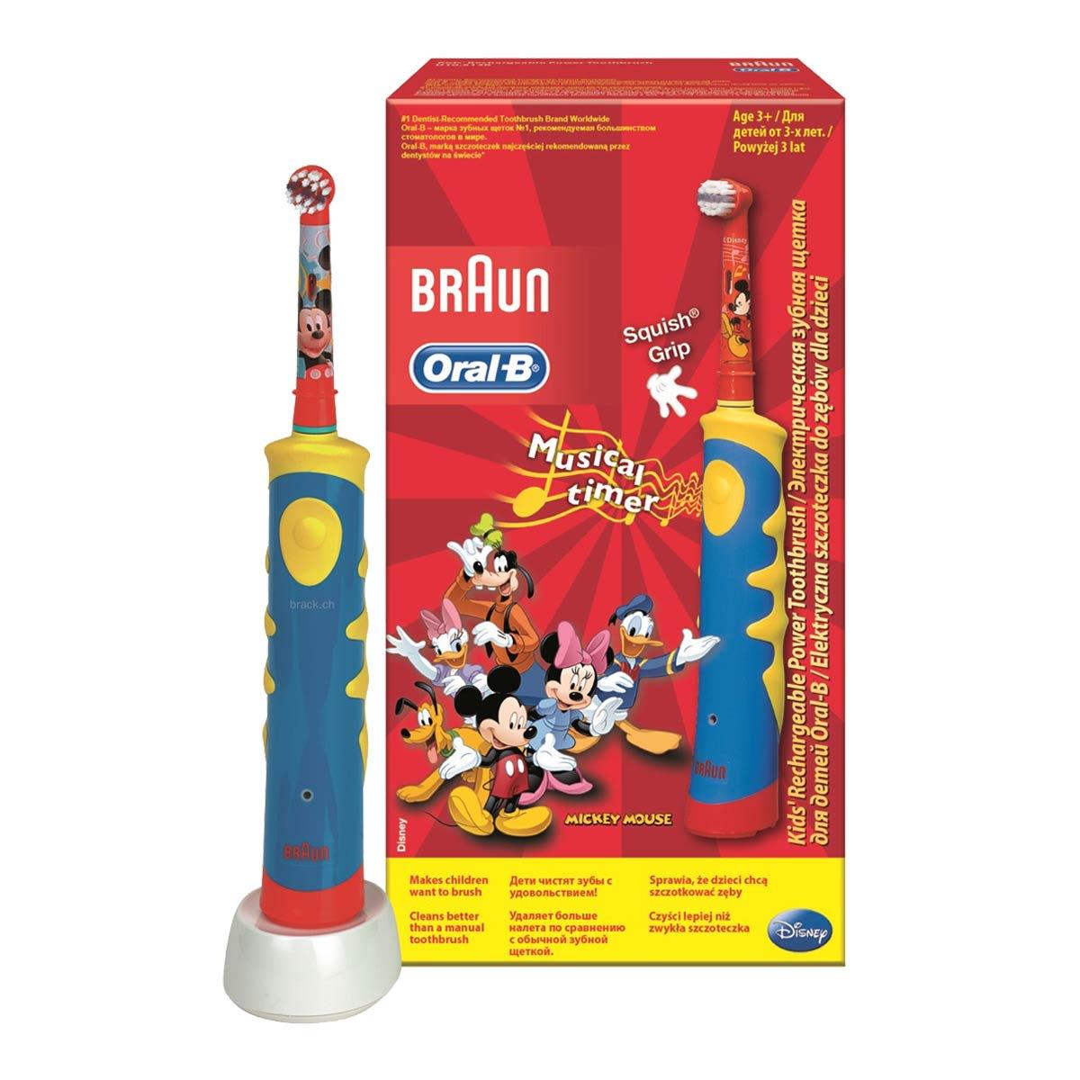 Детская аккумуляторная электрическая модель Oral-B Stages Power Mickey с музыкальным таймером