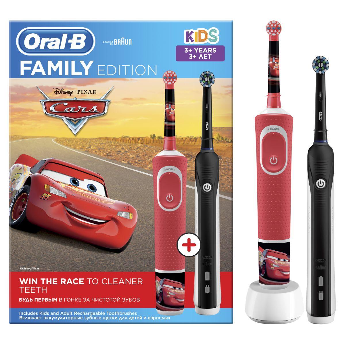 Комплект щеток Oral-B Family Edition: Pro 1 и Kids «Тачки»