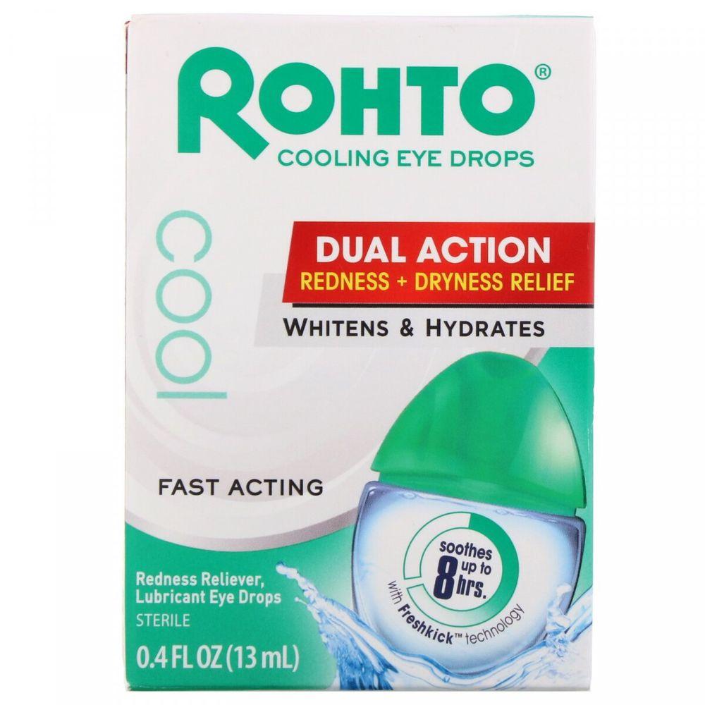 Rohto, Охлаждающие глазные капли, двойной эффект, уменьшение покраснения и сухости, 13 мл (0,4 жидк. унции)