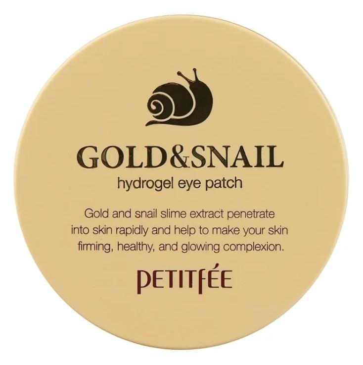 Патчи с содержанием золота и муцином улитки Petitfee gold & Snail hydrogel eye patch