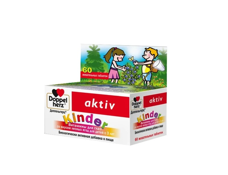 Доппельгерц Kinder Витамины для глаз со вкусом лесных ягод д/детей с 3 лет таб. жев. №60